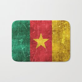 Vintage Aged and Scratched Cameroon Flag Bath Mat