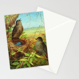 Thrushes' Nest with Eggs along Farmer's Field still life portrait painting by Fidelia Bridges Stationery Cards