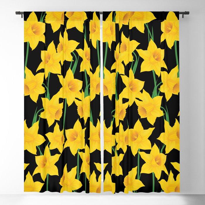 Yellow Daffodils Pattern Blackout Curtain