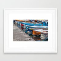 boats Framed Art Prints featuring Boats by Travelling Dave
