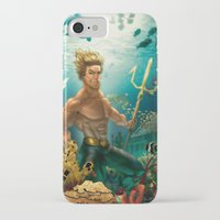 aquaman iPhone & iPod Cases featuring Aquaman Black Lagoon (Dark Water Version)  by Brian Hollins art
