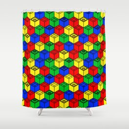 trippy building blocks Shower Curtain