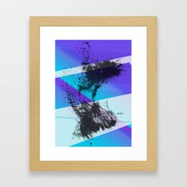 Ink Splat and Shapes Aqua and Purple Framed Art Print