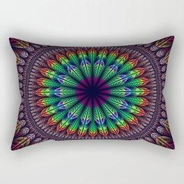Colorful fantasy flower and petals mandala Rectangular Pillow