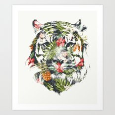 Tropical tiger Art Print