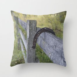 Horse Shoe Over the Fence Throw Pillow