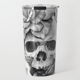 Black and white Skull and Roses Travel Mug