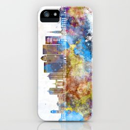 Louisville V2 skyline in watercolor background iPhone Case