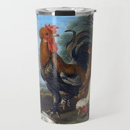 David de Coninck A Cockerel, Hens, Doves and a Parrot Travel Mug