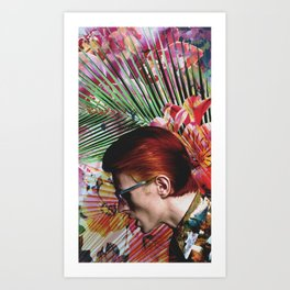Bowie and Flowers 5 Art Print