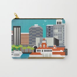 Long Beach, California - Skyline Illustration by Loose Petals Carry-All Pouch