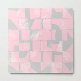 Blush and Gray Typographical Fragments Cheater Quilt Metal Print