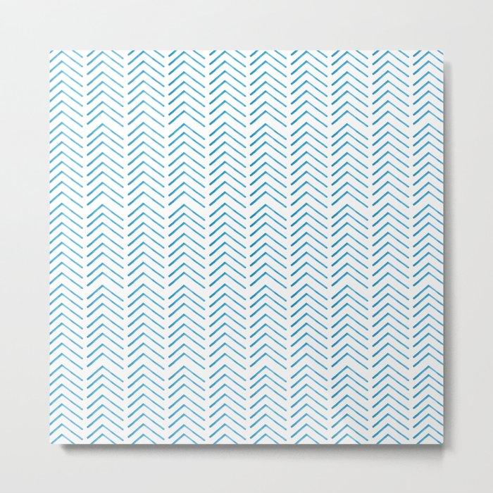 Hand painted blue watercolor aztec chevron geometrical Metal Print