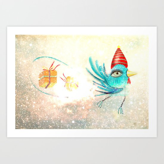 Merry Christmas Bird  Art Print