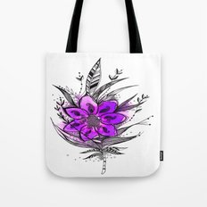 Purple Flower Feather Tote Bag
