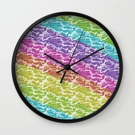 Rainbow Camo Wall Clock