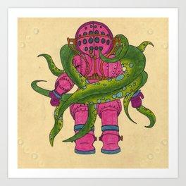 Pink Scuba Diver Art Print