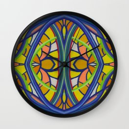 Stained Glass Blue Lines and Yellow Orange Shaped Background by annmariescreations Wall Clock