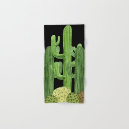Desert Vacay Three Cacti on Black Hand & Bath Towel