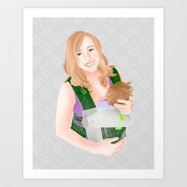 Babywearing postpartum mom with newborn in structured carrier // watercolor portrait with grey Art Print
