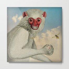 Monkey & Bee Metal Print