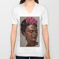 frida V-neck T-shirts featuring Frida by Absolem Studio
