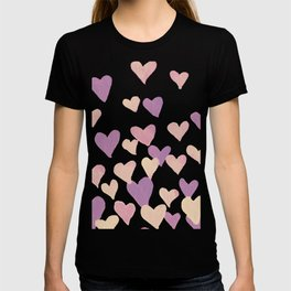 Valentine's Day Watercolor Hearts - pastel pink T-shirt