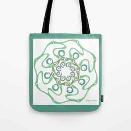 Hope Flower Mandala - Green White Framed Tote Bag