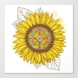 Sunflower Compass Canvas Print