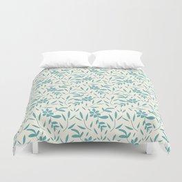 Cerulean leaf and floral coordinate Duvet Cover