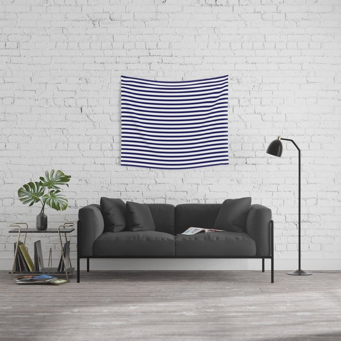 Navy Blue & White Maritime Small Stripes - Mix & Match with Simplicity of Life Wall Tapestry