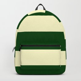 Dark Emerald Green and Cream Large Stripes Backpack