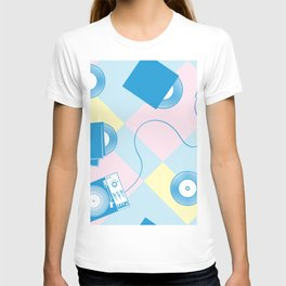 Pattern of retro templates for karaoke, disco, party,  singing T-shirt