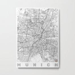 Munich Map Line Metal Print