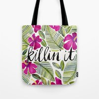 tropical Tote Bags featuring Killin' It – Tropical Pink by Cat Coquillette
