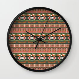 Colorful tribal ethnic ornament . Wall Clock