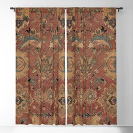 Flowery Boho Rug IV // 17th Century Distressed Colorful Red Navy Blue Burlap Tan Ornate Accent Patte Blackout Curtain