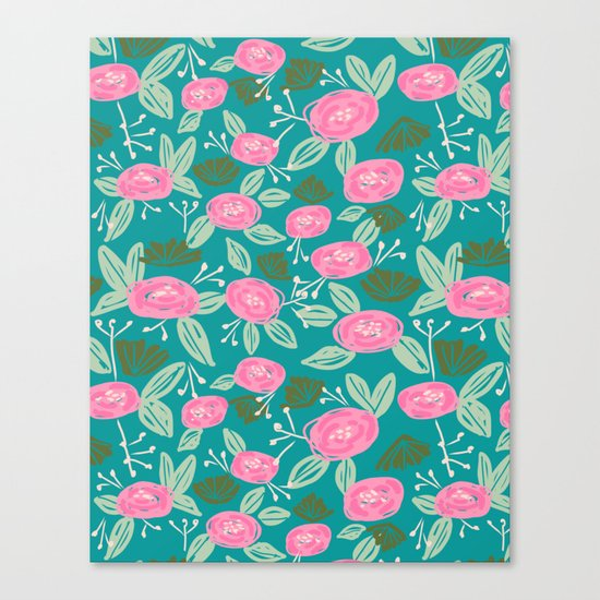 Turquoise blossom blooms painting abstract pattern garden gardener plants summer spring bright  Canvas Print