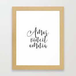 AMOR VINCIT OMNIA, Love Quote,Love Sign,Latin Saying, Latin Words,Inspirational Quote,Gift For Her,Q Framed Art Print