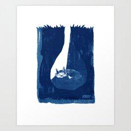 Fox in a burrow Art Print