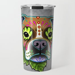 Boxer in White Fawn - Day of the Dead Sugar Skull Dog Travel Mug