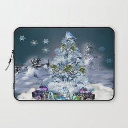 Snowy Blue Christmas Scene Laptop Sleeve