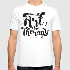 Art is Therapy Mens Fitted Tee MEDIUM White