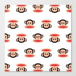 Julius Monkey Pattern by Paul Frank - White  Canvas Print