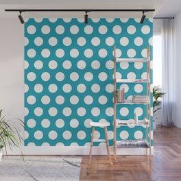 Turquoise and White Polka Dots 772 Wall Mural