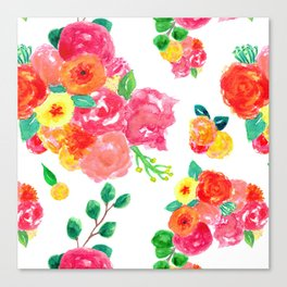 Watercolor Bouquet Floral in White + Pink Canvas Print