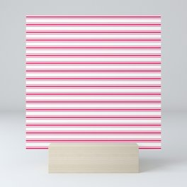 Bright Pink Peacock Mattress Ticking Wide Striped Pattern - Fall Fashion 2018 Mini Art Print