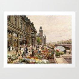 Parisian Flower Market on the River Seine by Girmin-Girard Art Print