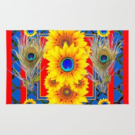 RED-BLUE PEACOCK JEWELED SUNFLOWERS DECO ABSTRACT Rug
