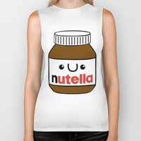 nutella Biker Tanks featuring Nutella Monster by Tushietweet